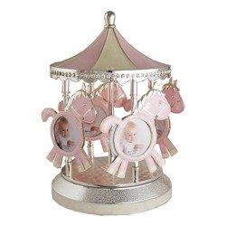 473-3182 Karuzela na zdjęcia z masy perłowej - różowa, pozytywka