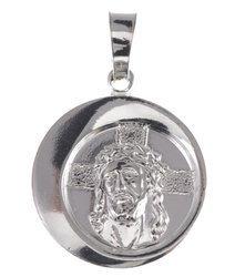 M68 Medalik srebrny - Jezus w koronie cierniowej