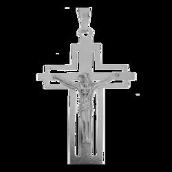 Medalik srebrny - Krzyżyk z wizerunkiem Jezusa MO131
