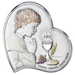 Obrazek Srebrny Pamiątka I Komunii dla chłopca Serce z podpisem kolor DS03CO