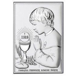 Obrazek Srebrny Pamiątka I Komunii dla chłopca prostokąt z podpisem Dono DS04O