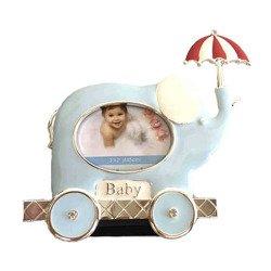 Ramka dziecięca z masy perłowej - niebieska, słoń z parasolem 473-3343