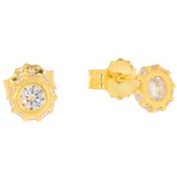 Złote kolczyki pr. 585 Oczko otoczone cyrkoniami sztyft ZA035