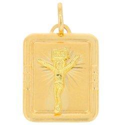 Złoty krzyżyk pr. 585 Chrystus ukrzyżowany prostokąt ramka ZK009