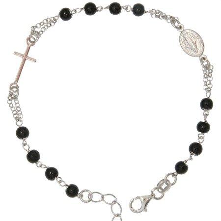 Bransoletka różańcowa na rękę czarne okrągłe paciorki , 3,7-4,5 g, srebro pr. 925 BRS45