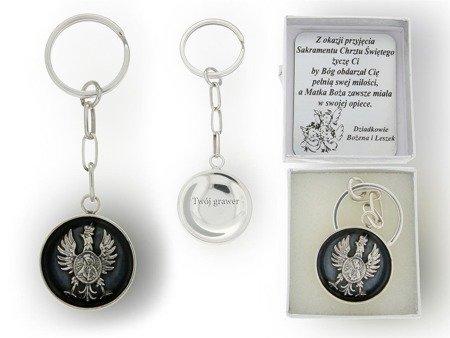 Brelok srebrny Orzeł Matka Boska Ostrobramska BR05/P40/1