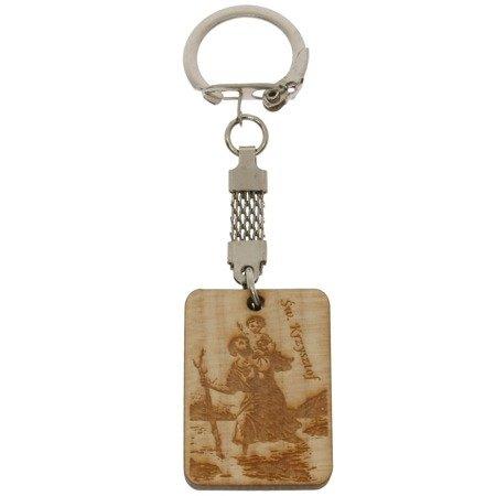 Drewniany brelok z wizerunkiem Świętego Krzysztofa BR/DREW1
