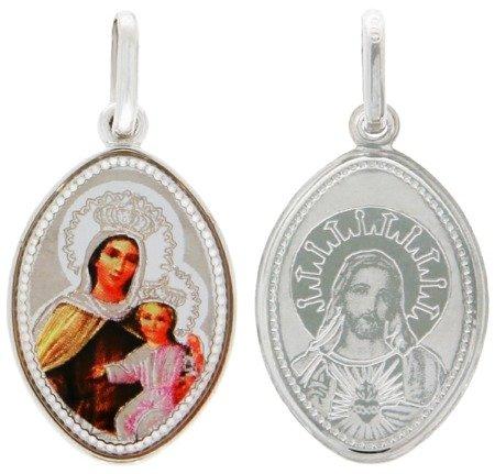 Medalik srebrny (1,8 g) - Szkaplerz Najświętszej Maryi Panny z Góry Karmel ( Szkaplerz ) MK023
