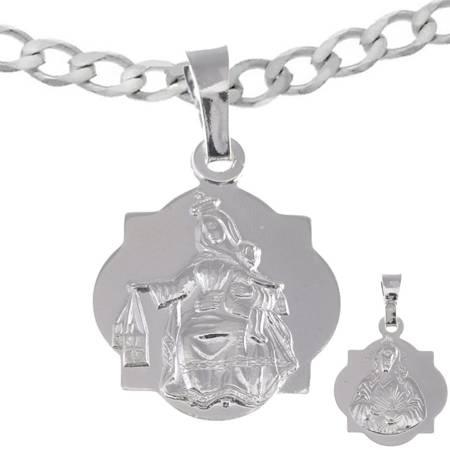 Medalik szkaplerzny oraz łańcuszek - Matka Boska Szkaplerzna Zestaw srebrny pr. 925 MM024/L50GRF6-45