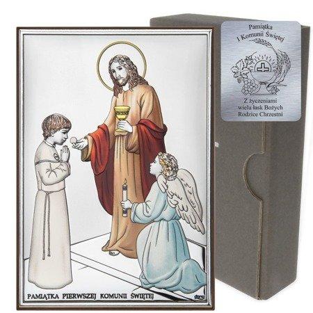Obrazek Srebrny Pamiątka I Komunii dla chłopca prostokąt z podpisem kolor DS31CO
