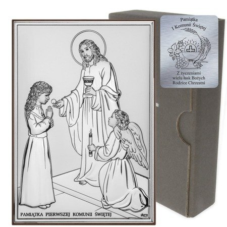 Obrazek Srebrny Pamiątka I Komunii dla dziewczynki prostokąt z podpisem kolor DS31A