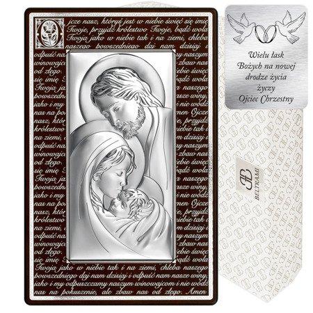 Obrazek Srebrny Święta Rodzina brązowa rama z modlitwą 6380MN