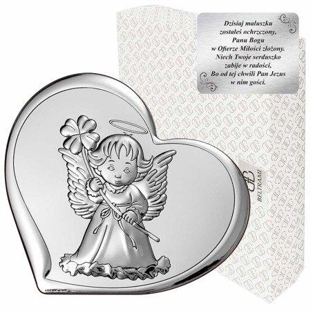 Obrazek srebrny Aniołek Pamiątka Chrztu 6447