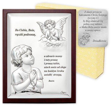 Obrazek srebrny Aniołek z modlitwą z brązową ramką 31300W