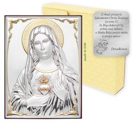 Obrazek srebrny Niepokalane Serce Maryi 309825OROA