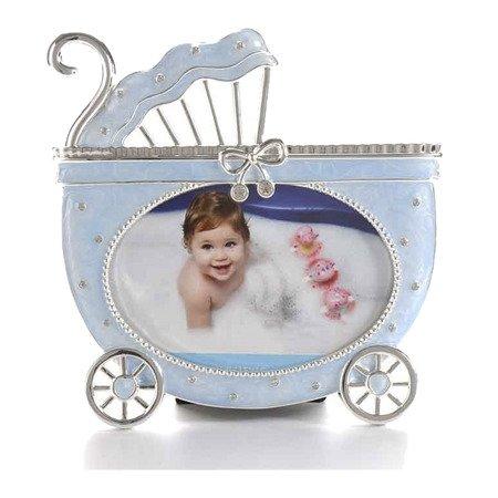 Ramka dziecięca z masy perłowej - niebieska, wózek 473-3295