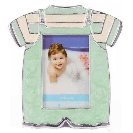 Ramka dziecięca z masy perłowej - niebiesko zielona, ubranko 473-3194