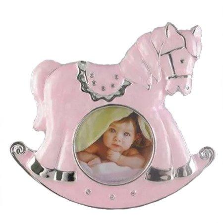 Ramka dziecięca z masy perłowej - różowa, konik 473-3241