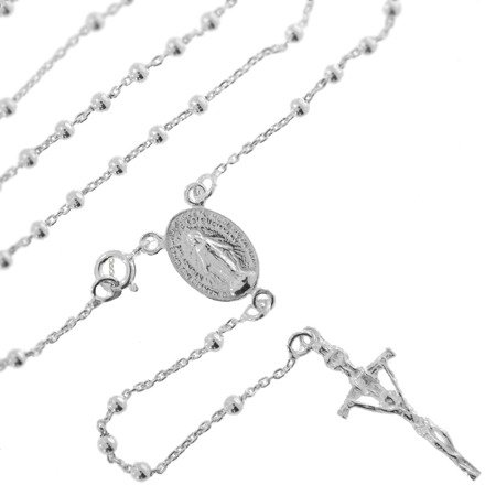 Różaniec srebrny - 5 dziesiątek z zapięciem 9,2-9,6 g, srebro pr. 925 RC013