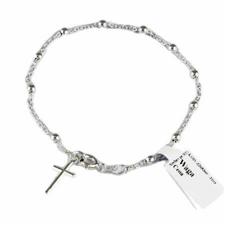 Różaniec srebrny - bransoletka różańcowa na rękę, dziesiątek, 2,1-2,5 g, rodowane srebro pr. 925 BRP19