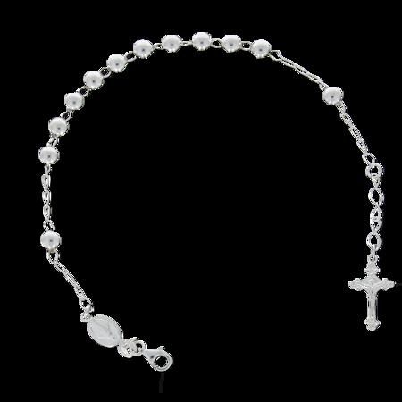 Różaniec srebrny - bransoletka różańcowa na rękę, dziesiątka, 4,3-5,2 g, srebro pr. 925 BRS55