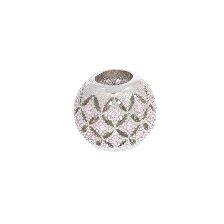 Srebrna przywieszka pr 925 Charms kulka romby różowe cyrkonie PAN074