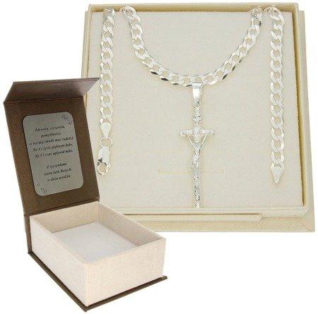 Zestaw srebrny łańcuch szer. 5,2 mm z krzyżykiem + GRAWER MO024/GZP1156L/P3