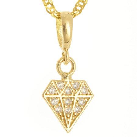 Złota przywieszka pr. 585 diament cyrkonie ZP042