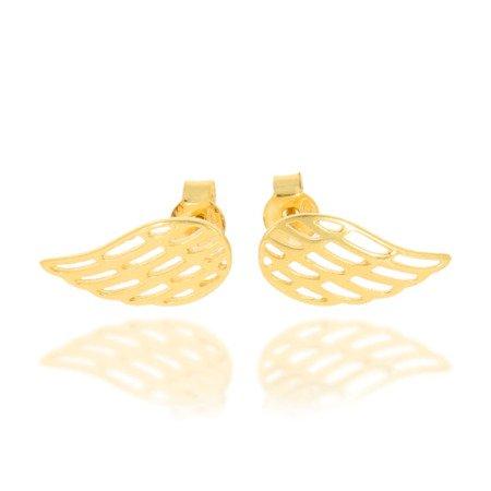 Złote kolczyki pr. 333  skrzydła anioła sztyft ZD001