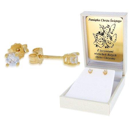 Złote kolczyki pr. 585  cyrkonia 4 łapki sztyft ZA014/PDH-3/NA/A1/G