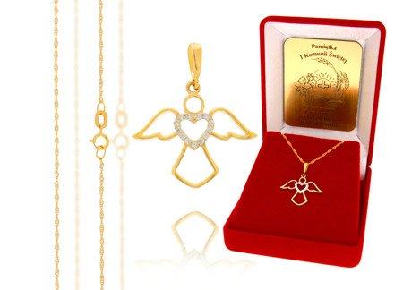 Złoty komplet pr. 585 anioł ZP005/ZL004/P7/FLOKCZERW/GZ