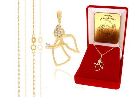 Złoty komplet pr. 585 anioł ZP033/ZL004/P7/FLOKCZERW/GZ