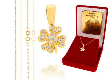 Złoty komplet pr. 585 koniczyna ZP010/ZL004/P7/FLOKCZERW/GZ