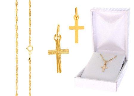 Złoty komplet pr. 585 krzyżyk łańcuszek ZK001/ZL004/PZH-3/A1/GZ