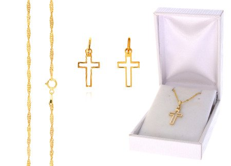 Złoty komplet pr. 585 krzyżyk łańcuszek ZK003/ZL004/PDH-3/A1/GZ