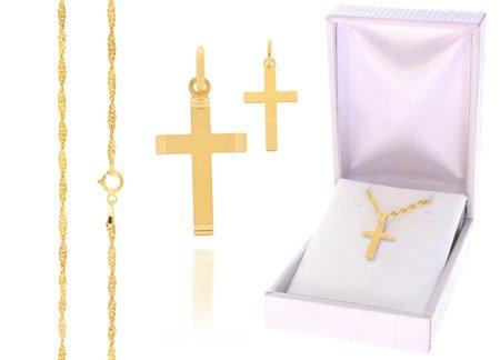 Złoty komplet pr. 585 krzyżyk łańcuszek ZK006/ZL004/PDH-3/A1/GZ