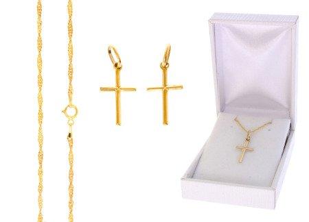 Złoty komplet pr. 585 krzyżyk łańcuszek ZK022/ZL004/PDH-3/A1/GZ