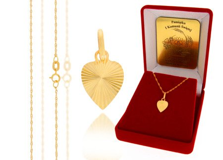 Złoty komplet pr. 585 serce ZP023/ZL004/P7/FLOKCZERW/GZ