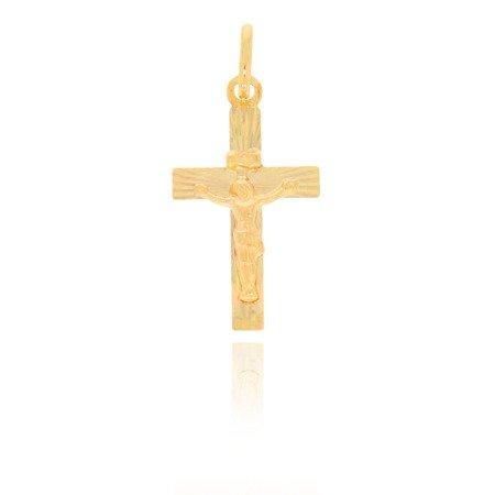 Złoty krzyżyk pr. 585 Krzyż płaski z wizerunkiem Jezusa promienie ZK008