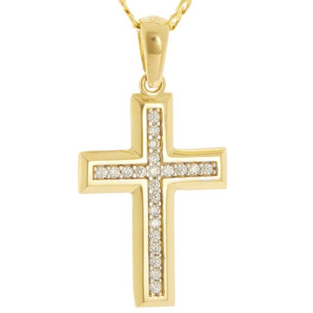 Złoty krzyżyk pr. 585 Krzyżyk cyrkonie ZK054
