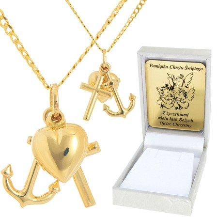 Złoty łańcuszek z krzyżykiem pr. 585 ZK038/ZL013-45/PZH-3/A1/GZ