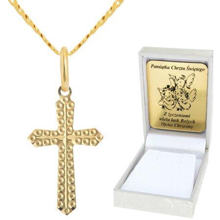 Złoty łańcuszek z krzyżykiem pr. 585 ZK039/ZL013-45/PZH-3/A1/GZ