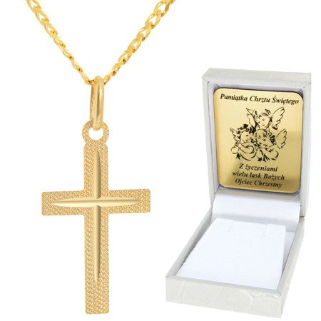 Złoty łańcuszek z krzyżykiem pr. 585 ZK042/ZL013-45/PZH-3/A1/GZ