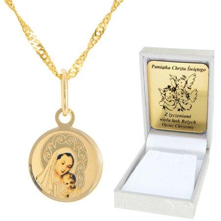 Złoty łańcuszek z medalikiem koło Matka Boska pr. 585