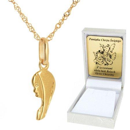 Złoty łańcuszek z medalikiem profil Matka Boska pr. 585