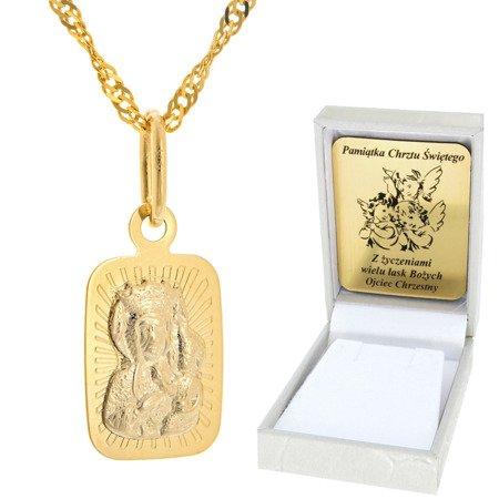 Złoty łańcuszek z medalikiem prostokąt Matka Boska pr. 585