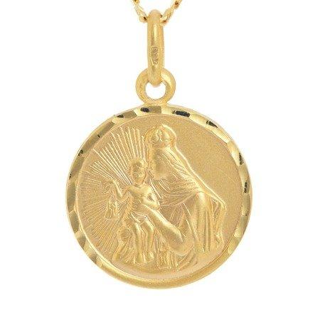 Złoty medalik pr. 585 M.B. Szkaplerzna Szkaplerz duży okrągły  ZM015