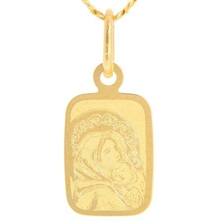 Złoty medalik pr. 585 M.B. Wędrowna prostokąt  ZM055
